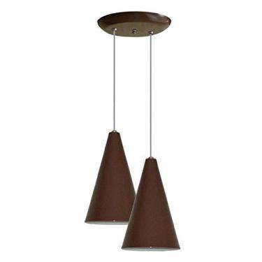 Luminaria Pendente Colorido Duplo Para Sala Quarto Cozinha - Marrom