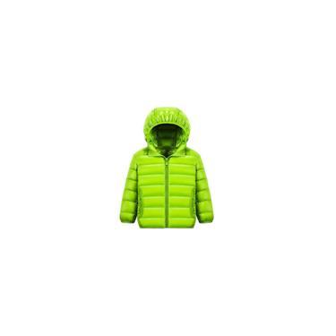 Jaqueta Meninos Meninas Acolchoada Com Capuz Inverno Ultra Leve Quente Cor Verde Tamanho 160cm