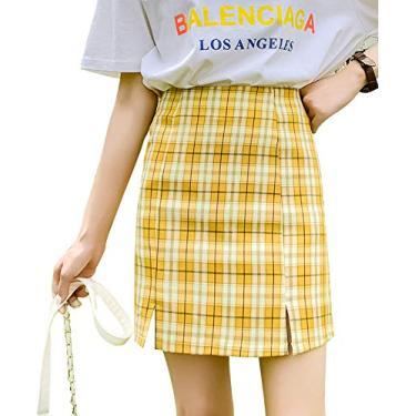 Saia xadrez feminina versátil evasê cintura alta colado ao corpo mini saia, #1 Amarelo, 6