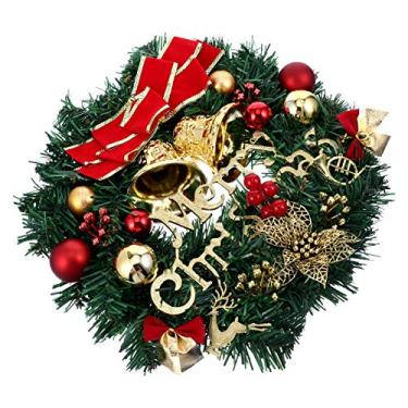 NUOBESTY Guirlanda de Porta de Natal Com Bola de Natal Pinhas Enfeites de Nó de Azevinho Baga Enfeites de Natal para Porta de Entrada
