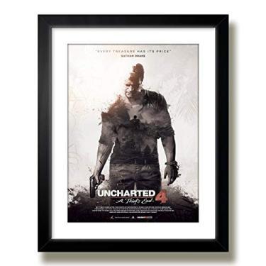 Quadro Uncharted 4 Game Poster Decoracao Sala Jogos Moldura Paspatur Pronto para Pendurar