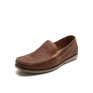 Sapato Couro Democrata Pesponto Marrom Democrata 135102-007 masculino