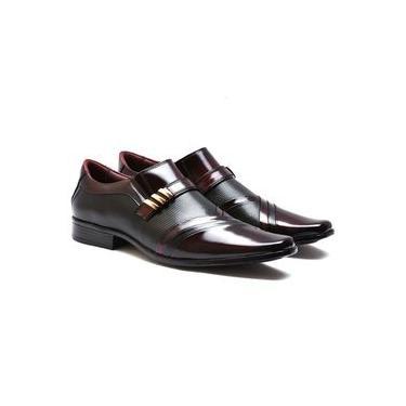 Sapato Social Masculino Couro Legítimo Gofer Verniz Vermelho Escuro