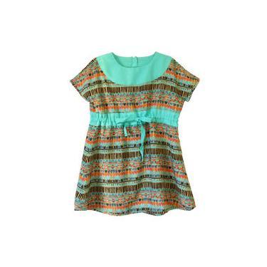 Vestido Infantil Étnico Céu Azul