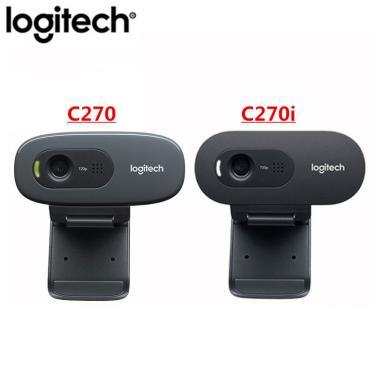 Logitech câmera c270/c270i hd usb webcam reunião remota, com microfone, não há necessidade de