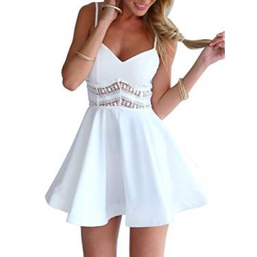 Imagem de Mini vestido patinadora com alças finas e cintura de renda na altura do joelho, Branco, Medium