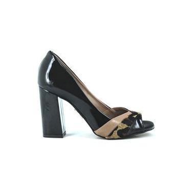 Sapato Peep Toe Feminino Salto Alto Grosso Verniz UZA 922237
