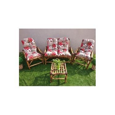 Conjunto Sofá De Área Bambu 4 Lugares - 1 Sofá + 2 Cadeiras + 1 Mesa +Almofadas