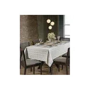 Imagem de Toalha de Mesa Quadrada para 8 Cadeiras Jacquard Requinte II Prata Dohler
