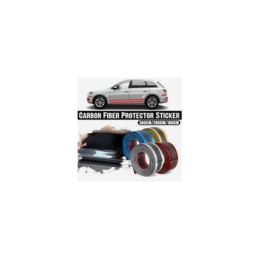 Imagem de Adesivo de carro em fibra de carbono borracha azul protetor de soleira de porta tira de proteção 5cm * 3M