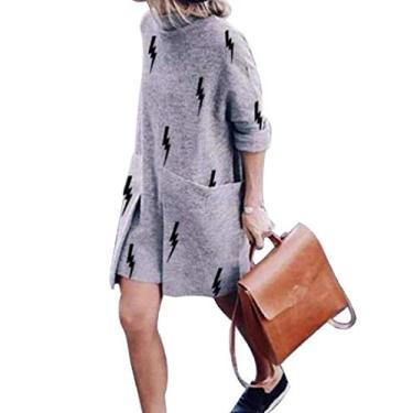 UUYUK Vestido midi feminino casual com estampa de gola redonda e bolsos, Cinza, XX-Large