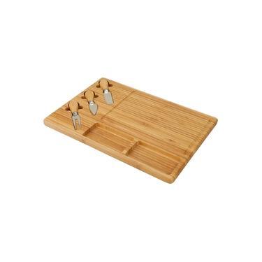 Imagem de Tábua para Queijos + Acessórios 3 peças - La Cuisine Linha Bambu