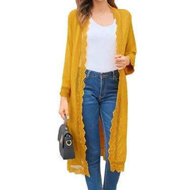 Cardigã feminino longo casual de renda e frente aberta Bluetime, Amarelo, Medium