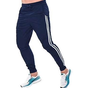 Calça Moletom Masculina Skinny Jogger Esporte Fino Academia Corrida (Azul, GG)