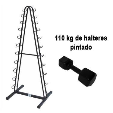 Kit Halter Sextavado Pintado 1 a 10kg + Suporte Polimet 11 pares