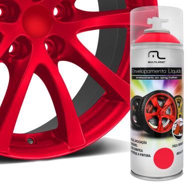 Spray Envelopamento Líquido Multilaser Multiuso Rodas Carro Moto Vermelho Fluorescente