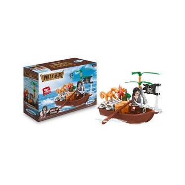 Brinquedo para Montar Piratas Barco do Tesouro 62PCS