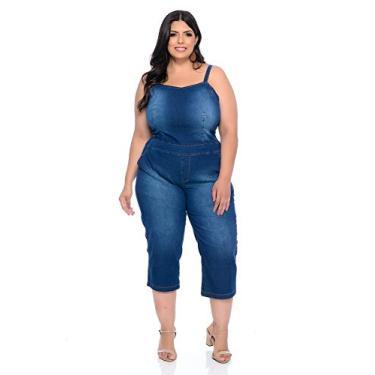 Macacão Jeans Plus Size Pantacourt Sarah-54