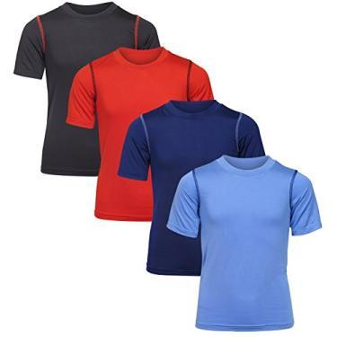 Imagem de Camisetas para meninos Black Bear Performance Dry-Fit (pacote com 4), Light Blue/Navy/Black/Red, Small / 4-6