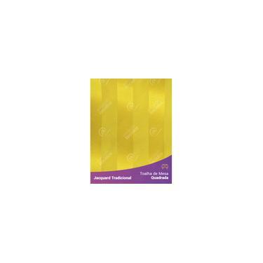 Imagem de Toalha De Mesa Quadrada Em Tecido Jacquard Amarelo Ouro Listrado Tradicional