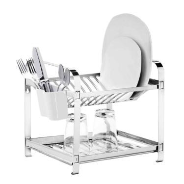 Escorredor de pratos em aço inox com porta talher