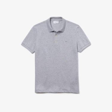 Camisa polo Lacoste Slim Fit em Petit Piquet Stretch, Lacoste, Masculino, Cinza, 3G