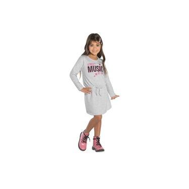 Vestido Infantil Feminino Manga Longa Rovitex Kids Cinza