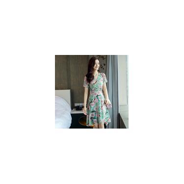 Longo Mulheres vestido de alta cintura Pattern Vestido Beach Dress V-Neck Chiffon Floral