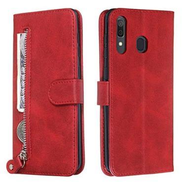 Capa para Galaxy A20, capa protetora YINCANG de couro sintético macio de TPU com fecho magnético com zíper e compartimento para cartão, suporte para Samsung Galaxy A20/Galaxy A30 6,5 polegadas, vermelho