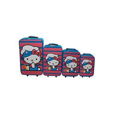 Conjunto de Malas Hello Kitty 4 Peças (PP,P,M,G)  Azul/Rosa Poliéster - Hello Kitty