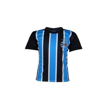 Camiseta Infantil Grêmio Menino Tricolor Manga Curta Azul/Preto