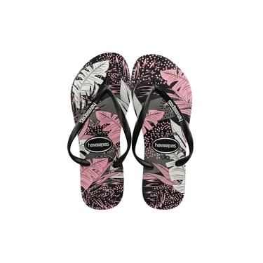 Chinelo Slim Havaianas Surf Floral Preto/Rosa