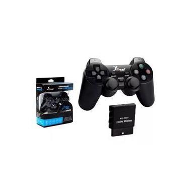 Kit 2 controles playstation 2 PS2 Sem Fio Preto