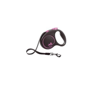 Guia Flexi Black Design Fita P 5m - Rosa p/ Cães