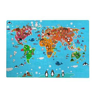 Imagem de ColourLife Quebra-cabeças quebra-cabeça presente para adultos, adolescentes, animais fofos, mapa-múndi de madeira, 300/500/1000 peças, multicolorido