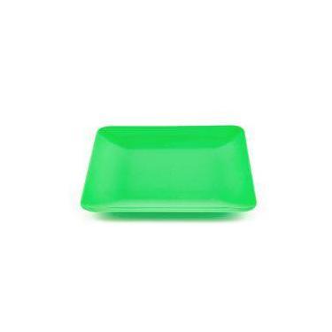 Prato Acrílico Quadrado Verde 21 cm 01 unidade Bezavel
