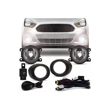 Kit Farol De Milha Completo Ford Ka 2015 16 17 18 19 Botão Alternativo Auxiliar Neblina