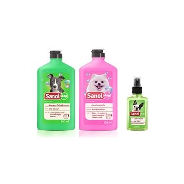 Kit completo banho cães: Shampoo para Cães Pelos Escuros + Condicionador Revitalizante + Perfume colônia Machos - Sanol Dog