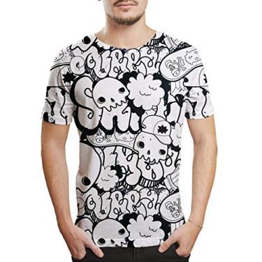 Camiseta Masculina manga curta estilosa Grafite Caveiras Skull Cor:Branco-Preto;Tamanho:P;