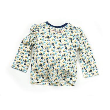 Camiseta Infantil Manga Longa Floral 6-12 meses, Blade and Rose, Creme