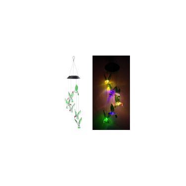 Imagem de Impermeável energia solar carrilhões de vento lâmpada beija-flor sino luz de suspensão ao ar livre