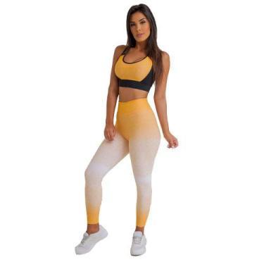 Imagem de Calça Legging Jacquard Dily Branco E Amarelo