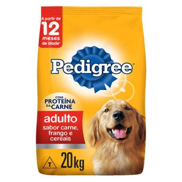 Ração Seca Pedigree Carne, Frango e Cereais para Cães Adultos Raças Médias e Grandes - 20 Kg