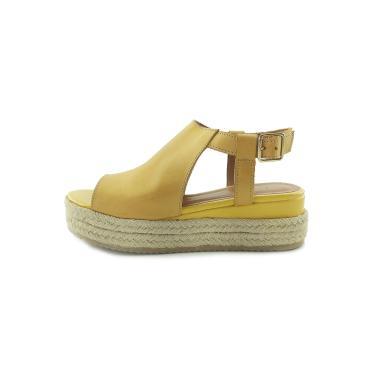 Sandália Scarpan Calçados Finos em Couro Salto Plataforma média - Mostarda  feminino