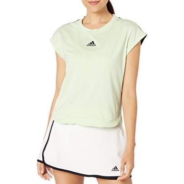 Adidas Camiseta feminina de tênis Ny, Glow Green/Black, Small