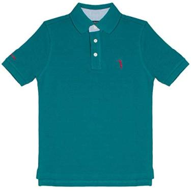 Camisa Polo Azul Lisa Infantil Aleatory-Petróleo-4