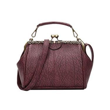 Imagem de BESTOYARD Bolsa feminina retrô de poliuretano, bolsa tiracolo, bolsa de noite, bolsa de mão feminina de casamento, bolsa de banquete (vinho vermelho)