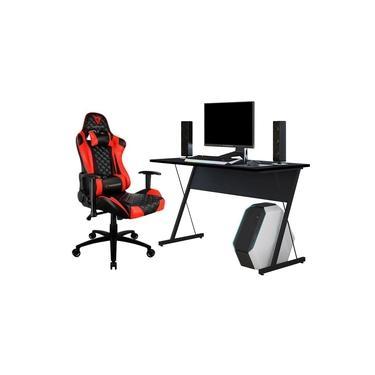 Kit Mesa Para PC Gamer Kombat Preto com Cadeira Gamer TGC12 ThunderX3 Vermelho - Lyam Decor