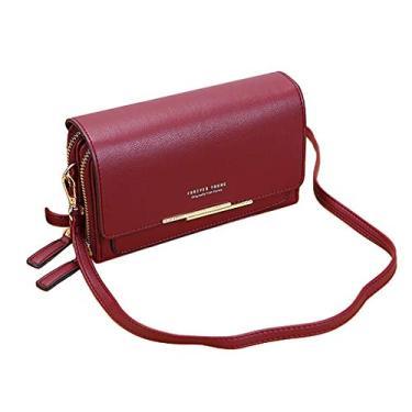 gazechimp Bolsa de Ombro Feminina de Couro Bolsa de Capacidade Porta-cartões com Zíper de Moda - Vinho vermelho