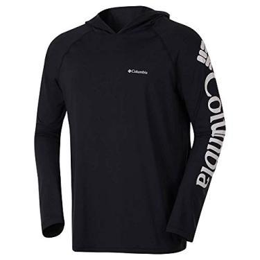 Camiseta Columbia Aurora Manga Longa Com Capuz Masculina - Preto M